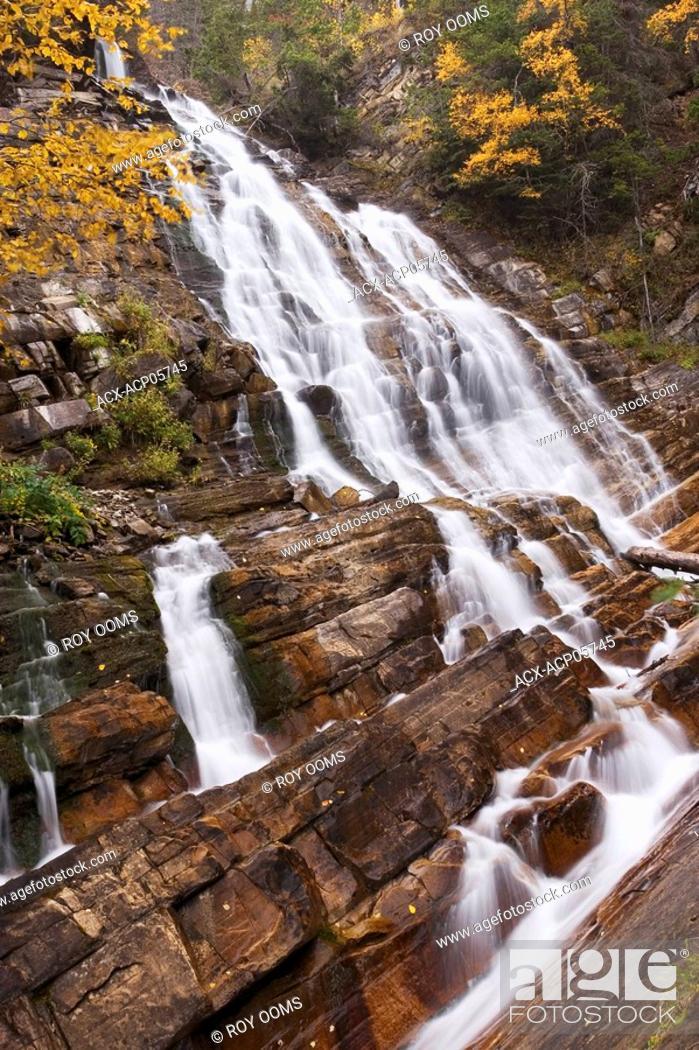 Stock Photo: waterfalls, Waterton Lakes National Park, Alberta, Canada.