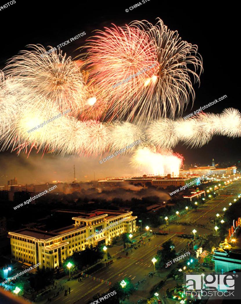 Stock Photo: China, Beijing, fireworks.