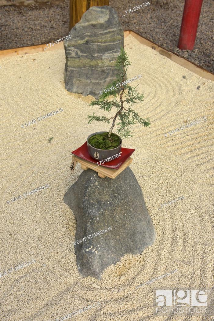 Stock Photo: Zen sand garden in the Jardin de Corazon Japanese garden, La Serena, Chile.