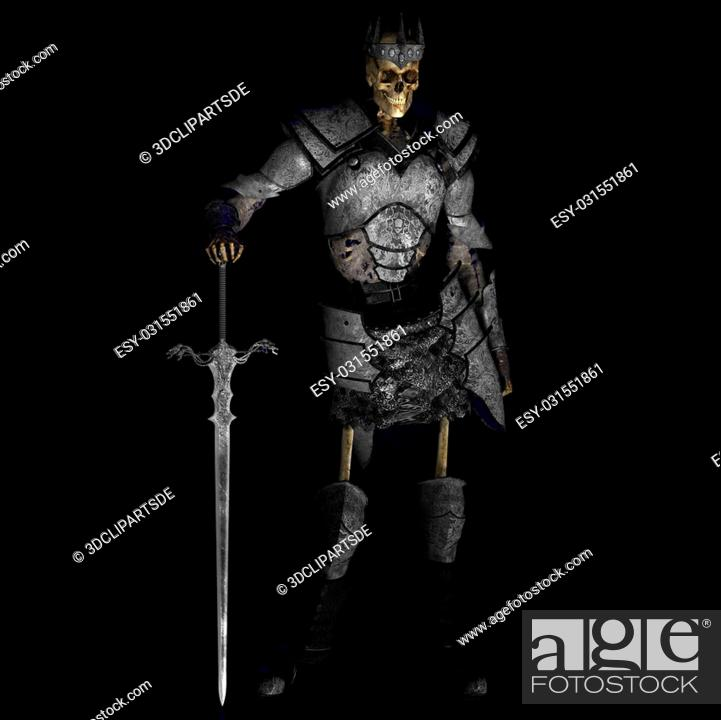 Imagen: Skeleton with Armor and Shield and SwordWith Clipping Path / Cutting Path.