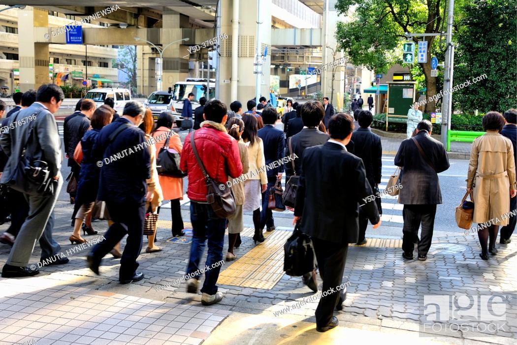 Stock Photo: People crossing the street, Hakozaki junction near Tokyo City Terminal , Nihonbashi-Hakozaki-cho, Chuo-ku, Tokyo, Japan.