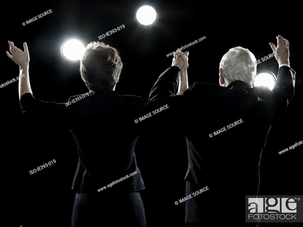 Stock Photo: Politicians waving.