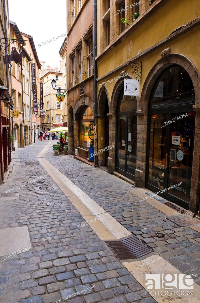 Stock Photo: Street scene in old town Vieux Lyon, France (UNESCO World Heritage Site).