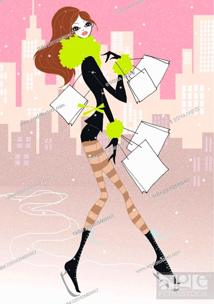 Stock Photo: Young woman on ice skates with shopping bags.