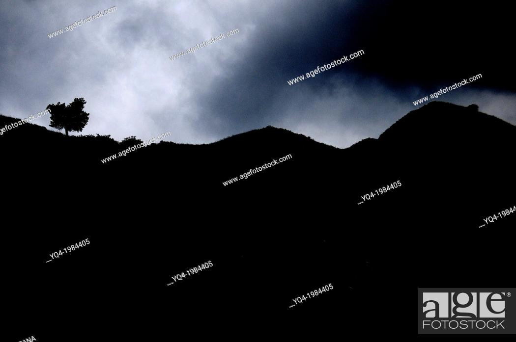 Stock Photo: Image backlit in the mountains of leather, Llanes, Asturias, Spain.