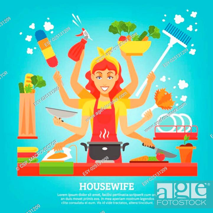 Stock Vector: Multitasking Housewife With Eight Hands.