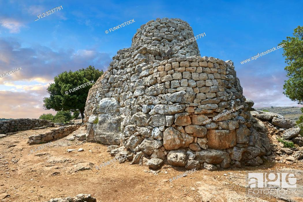Stock Photo: Picture and image of the prehistoric magalith ruins of the multi towered Nuraghe Serbissi, archaeological site, Bronze age (14 - 10 th century BC).