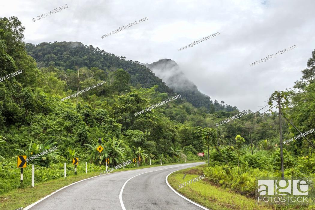 Stock Photo: A road to Borneo Highlands, Padawan, Sarawak, East Malaysia.