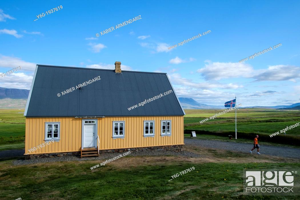 Stock Photo: Traditional house of the nineteenth century in the vicinity of Glaumbær, Iceland, Scandinavia, Europe.