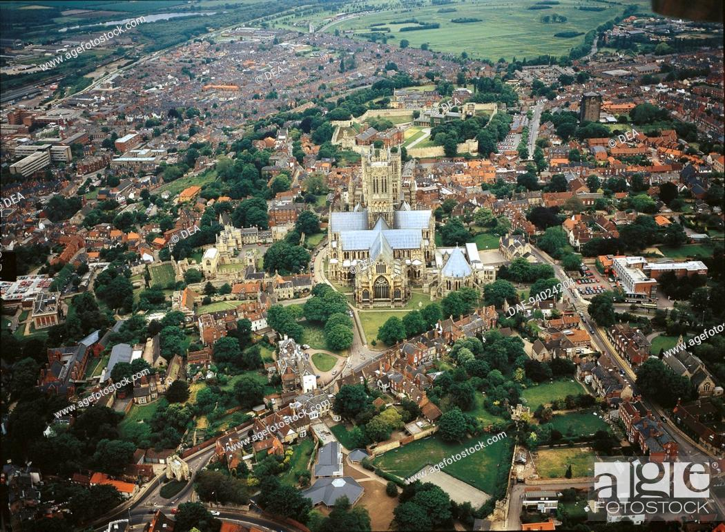 Stock Photo: Aerial view of Lincoln Cathedral - Lincolnshire, England, United Kingdom.
