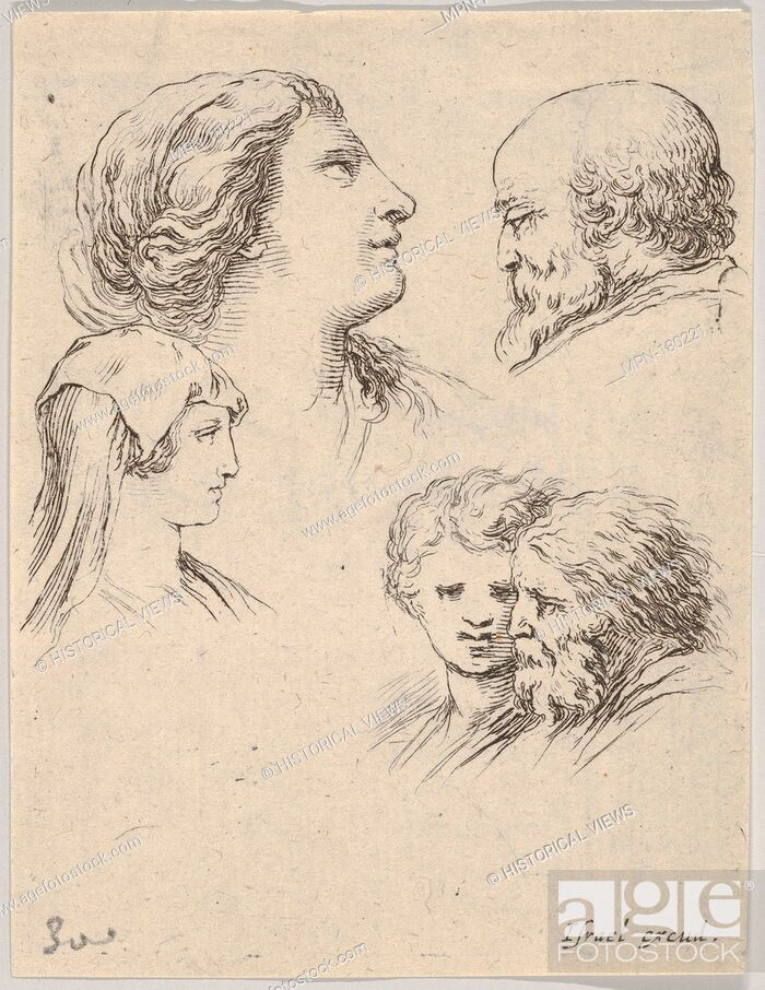 Stock Photo: Plate 9: five heads, two young women at left, a bearded man at upper right, a young woman and a bearded man at bottom right.