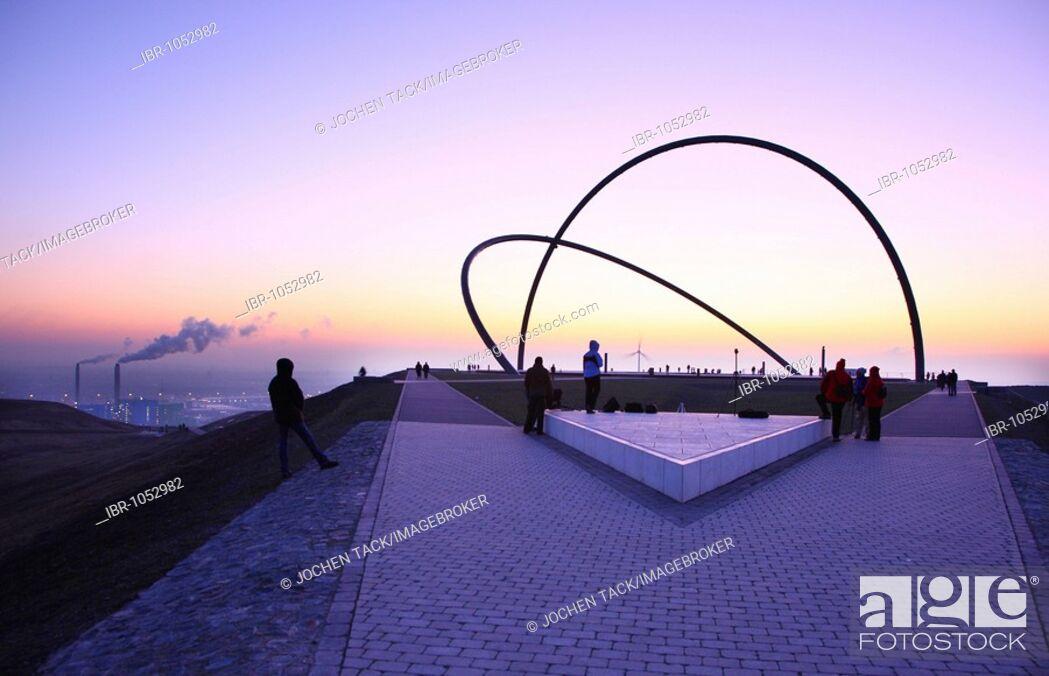Stock Photo: Arcs of the Horizon Observatory with visitors at sunset on Hoheward waste dump, Herten, North Rhine-Westphalia, Germany, Europe.