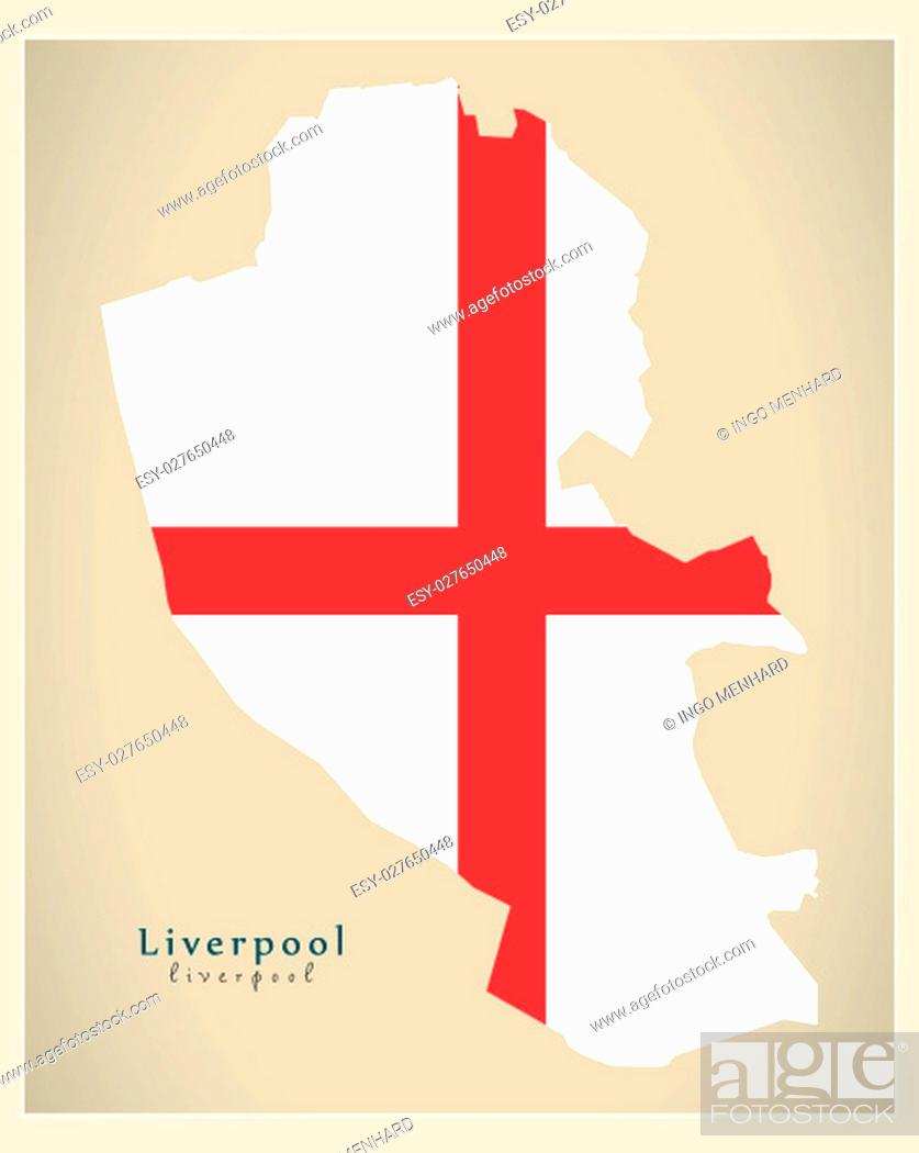 Stock Photo: Modern City Map - Liverpool with coloured boroughs illustration.