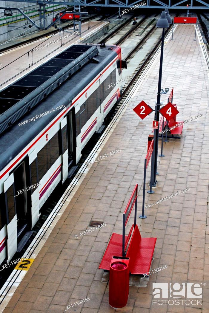 Stock Photo: Commuter train, Vic train station, Catalonia, Spain.