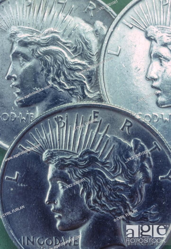 Stock Photo: American Silver Dollar Coins.