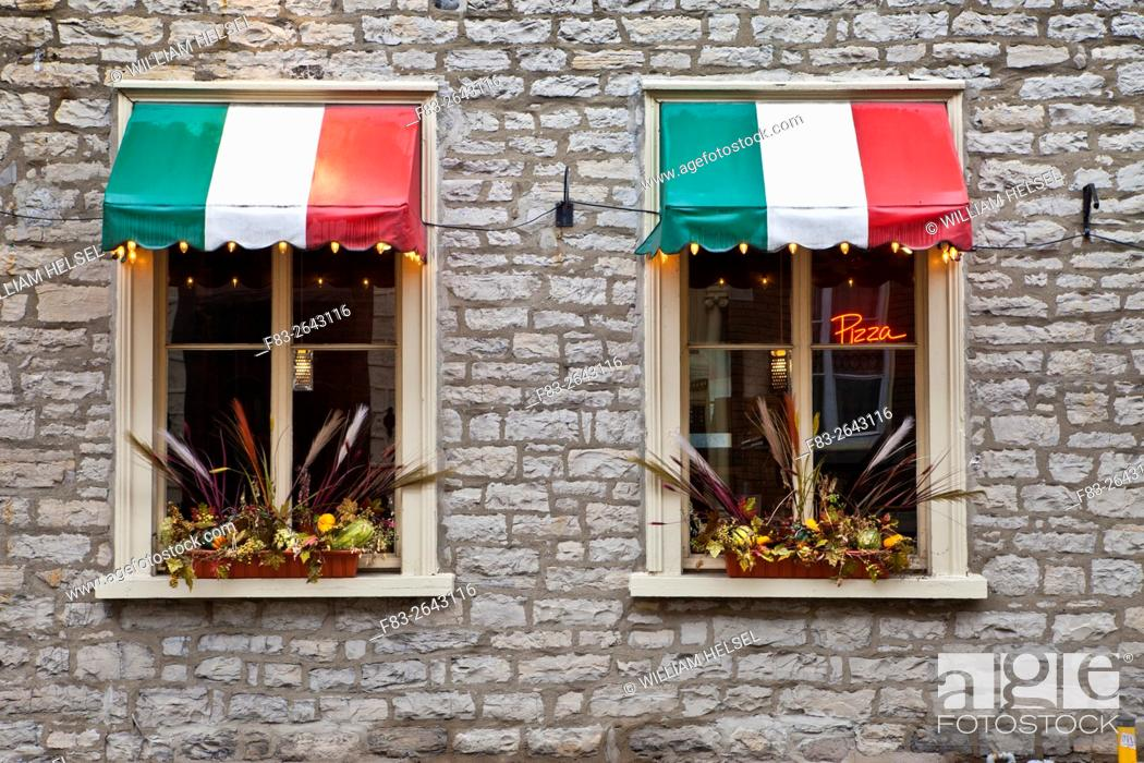 Italian Restaurant Windows Italian Flag Colored Awnings Neon