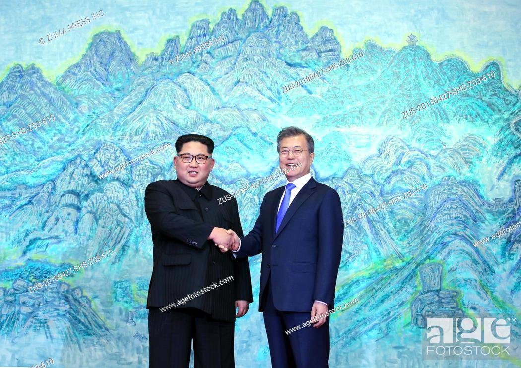 Stock Photo: April 27, 2018 - Paju, South Korea - South Korean President MOON JAE-IN and North Korean leader KIM JONG-UN during their inter-Korean summit at the Panmunjom in.