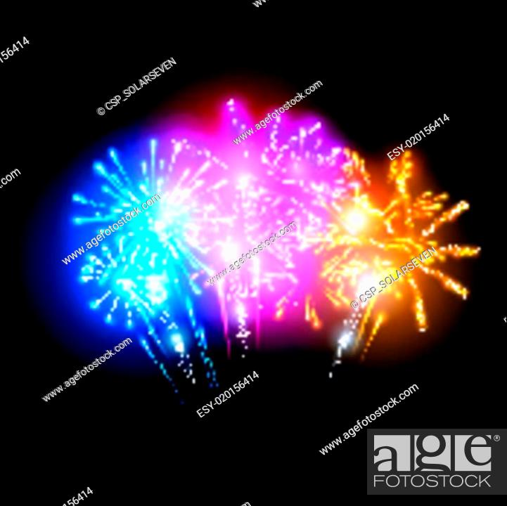 Stock Vector: Bright Fireworks Display.
