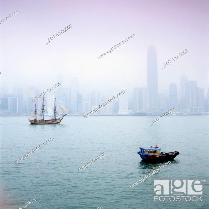 Stock Photo: Harbor view, Hong Kong, China.