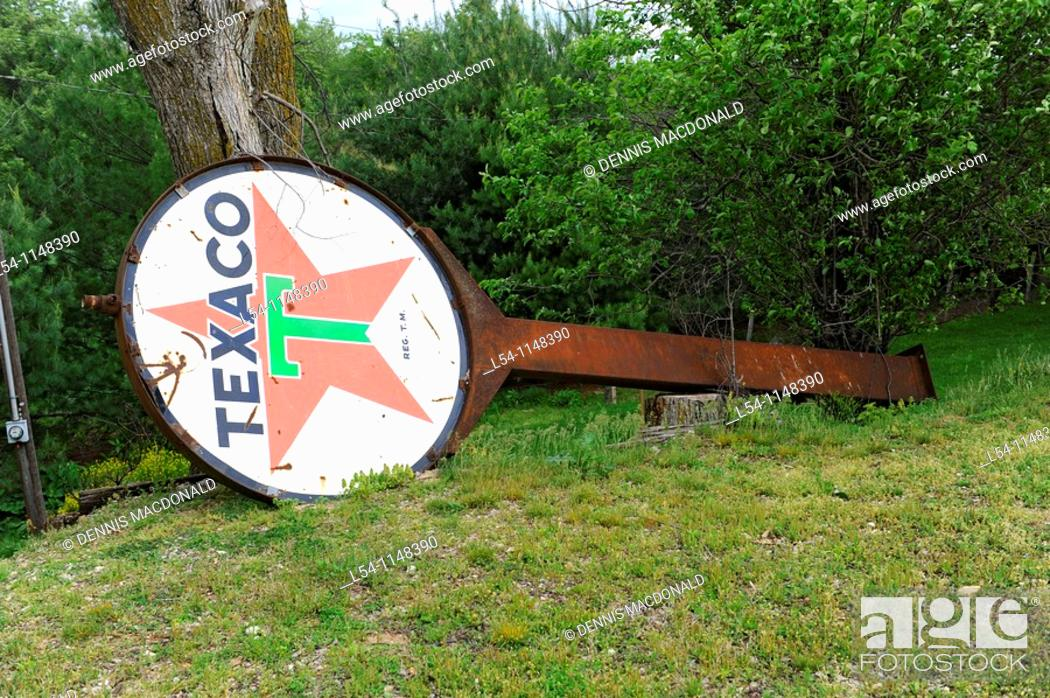 Stock Photo: Antique Gasoline Signs at Nostalgia Gift Shop Rolla Missouri along Route 66.