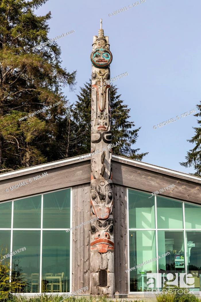 Stock Photo: Totem pole at Gwaii Haanas National Park Reserve and Haida Heritage Site, British Columbia, Canada.