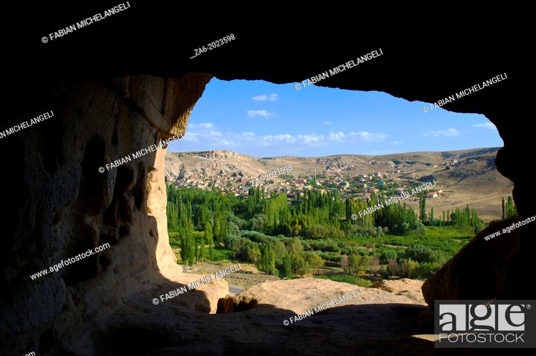 Stock Photo: View toward Yaprakhisar from the entrance to the Selime Monastery. Cappadocia, Central Anatolia, Turkey.