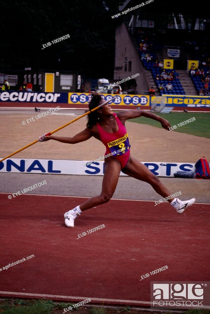 Stock Photo: British javelin thrower Tessa Sanderson at Crystal Palace 1996.
