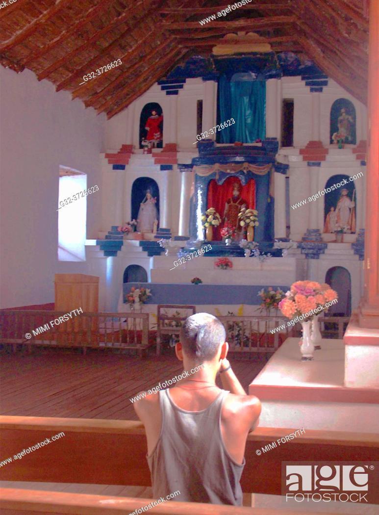 Stock Photo: interior of church of San Pedro, San Pedro de Atacama, Chile.