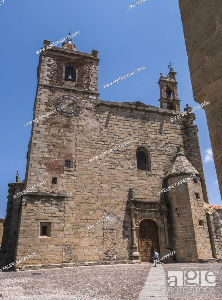Stock Photo: Caceres, Spain - july 13, 2018: Church of San Mateo located in the square of the same name, main facade with Plateresque façade.