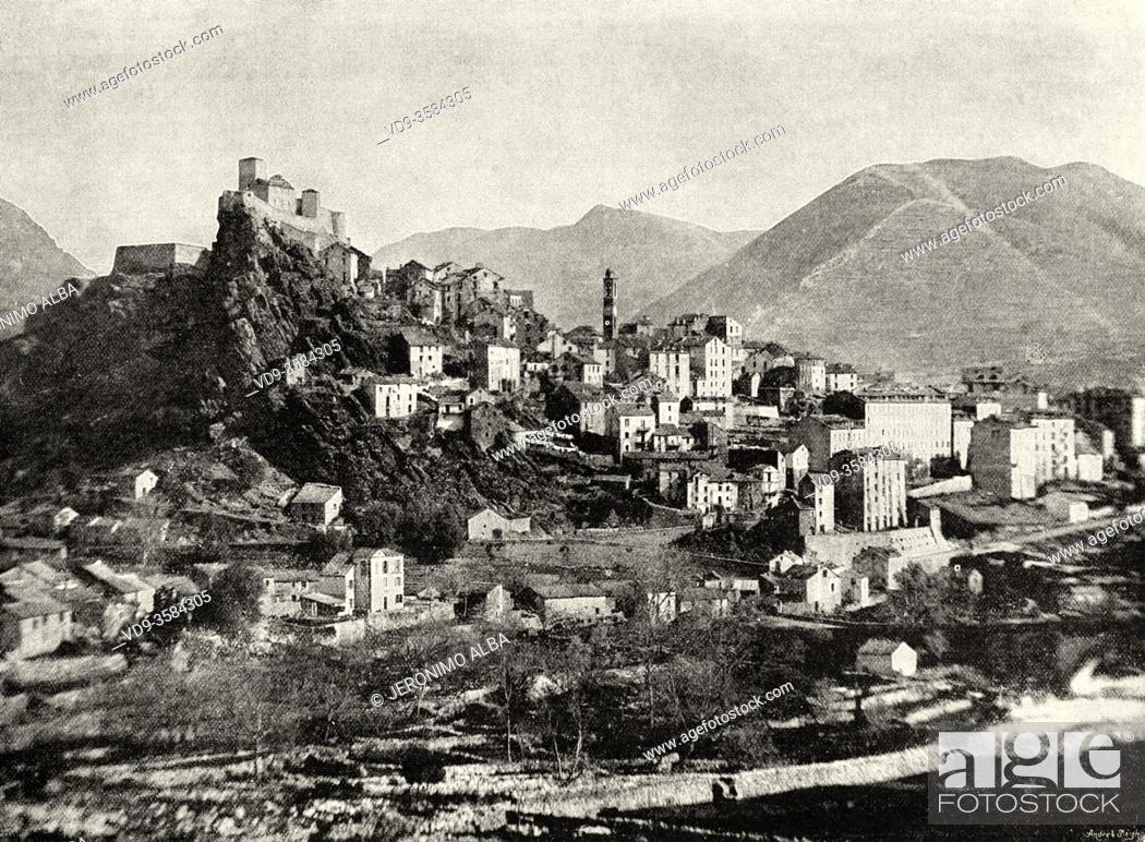 Imagen: View overview of the town of Corte, the ancient capital of the island of Corsica, Haute-Corse. France. Old XIX century illustration from La Ilustracion Española.