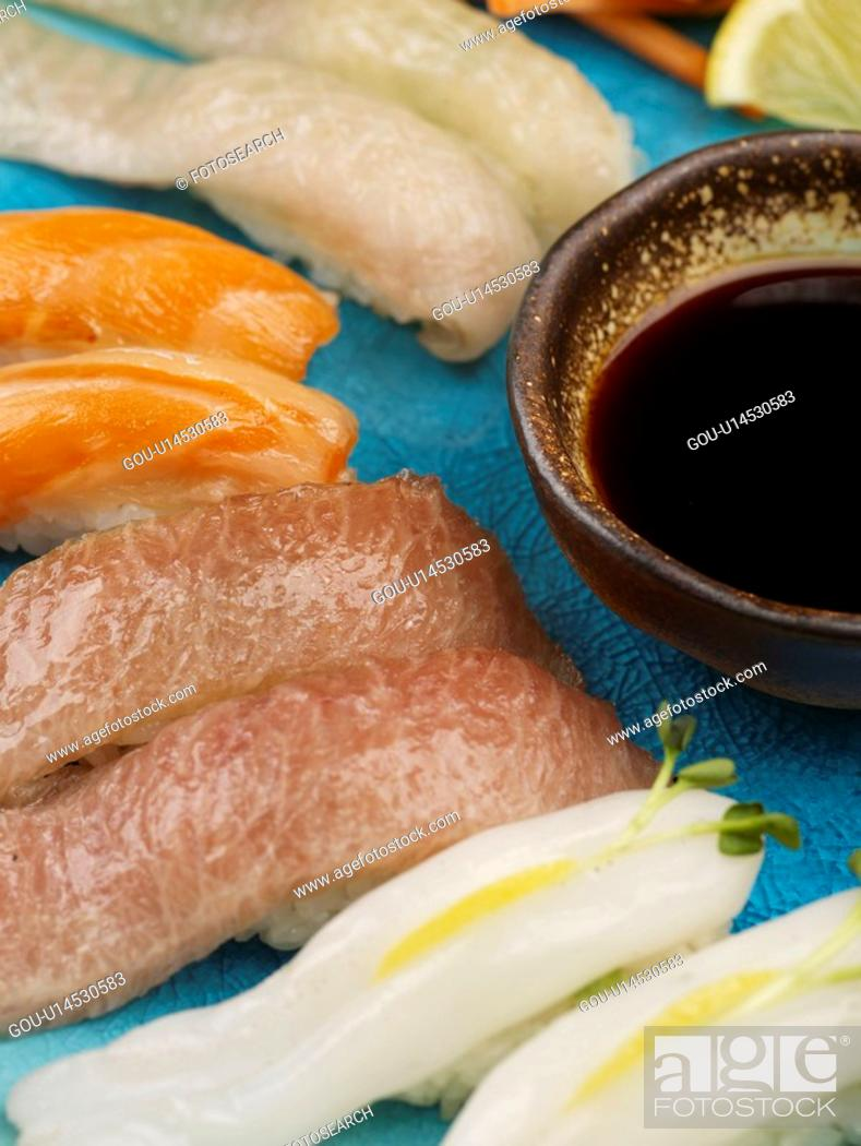 Stock Photo: salmon, plate, soy sauce, decoration, food styling, cuttle fish, sushi plate.