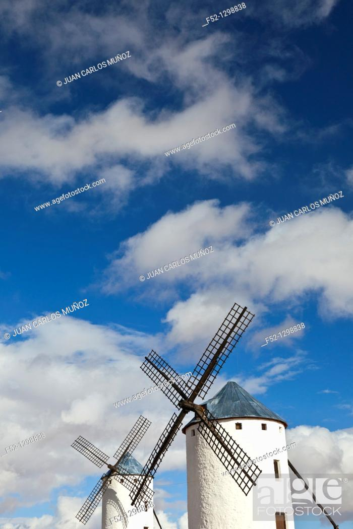 Stock Photo: Windmills, Campo de Criptana, Ciudad Real province, Castilla-La Mancha, Spain.