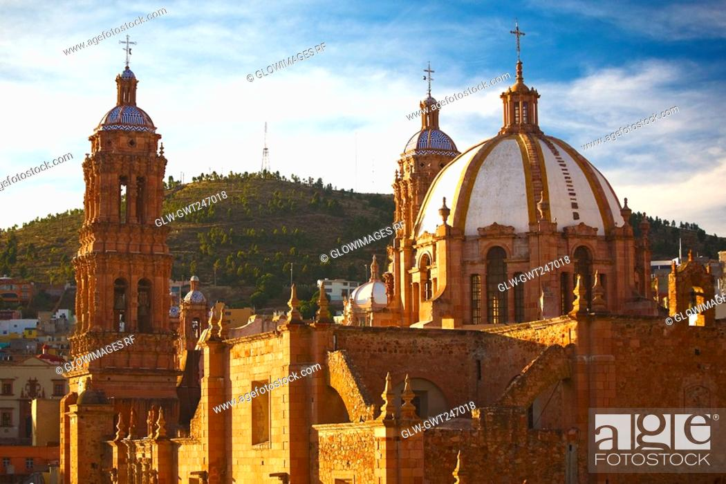 Stock Photo: Cathedral in a city, Zacatecas State, Mexico.