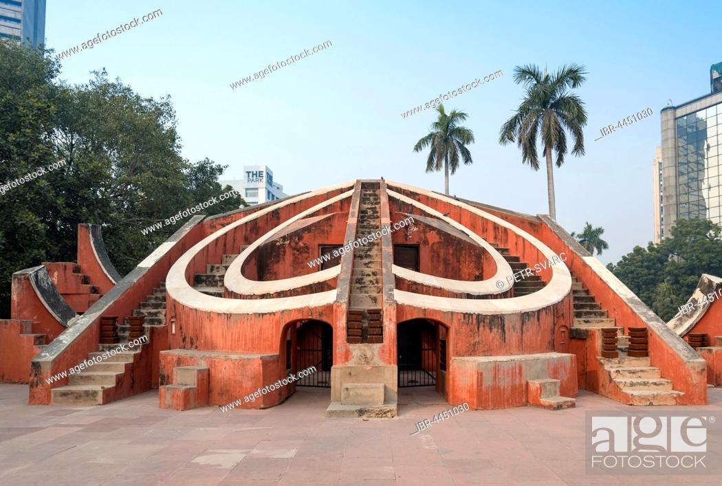 Stock Photo: Astronomical instrument Misra Yantra, Jantar Mantar observatory, New Delhi, India.