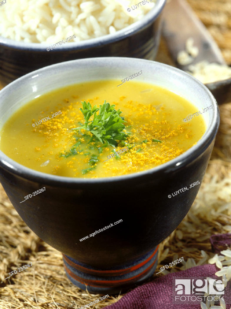 Stock Photo: Rice curry soup.
