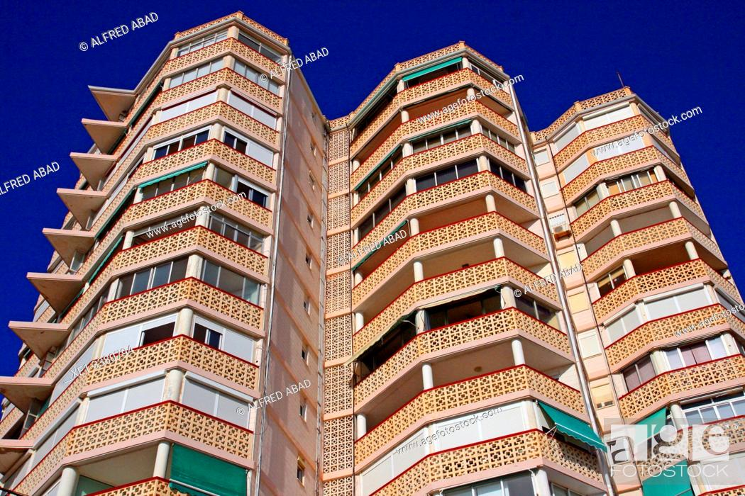 Stock Photo: Apartment building, Playa San Juan, Alicante, Spain.
