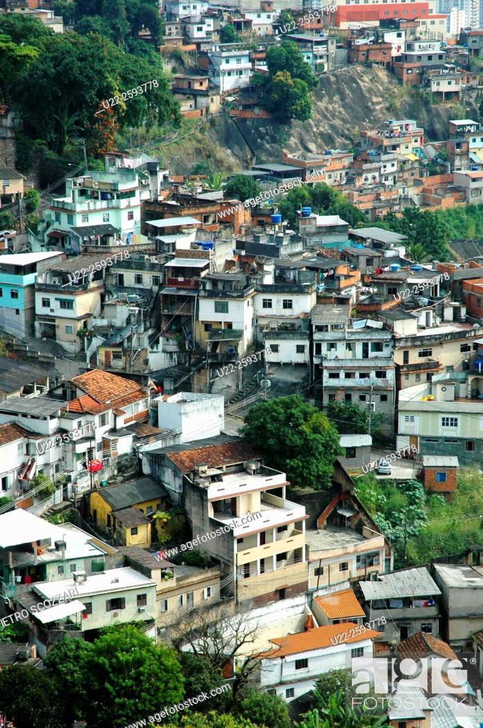 Stock Photo: Brazil, Rio de Janeiro, the Favela in Santa Teresa neighborhood.