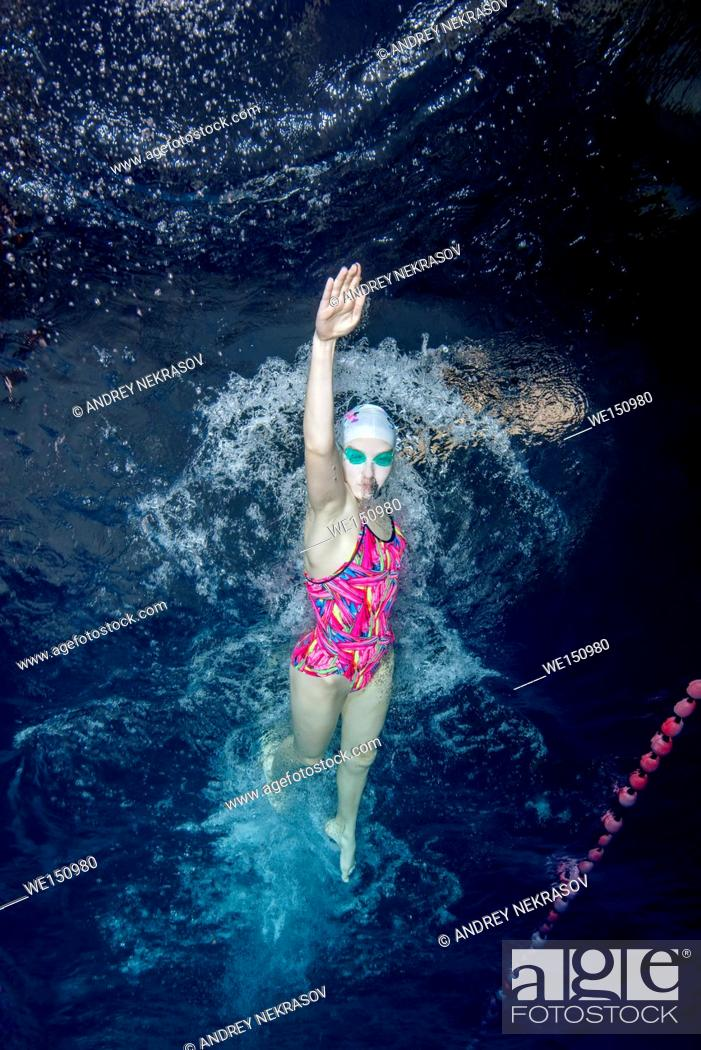 Stock Photo: Underwater view of Swimming Sport, Nikolaev, Ukraine, Eastern Europe.