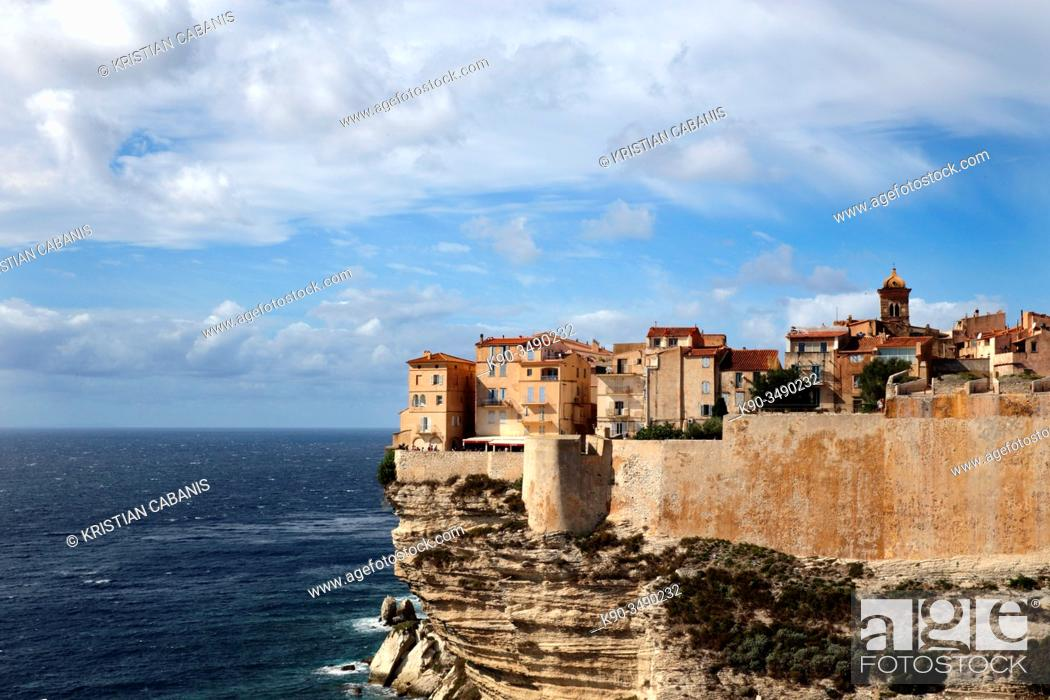 Stock Photo: Cliff line with the houses of Bonifacio during sunny weather, Corsica, France, Europe.