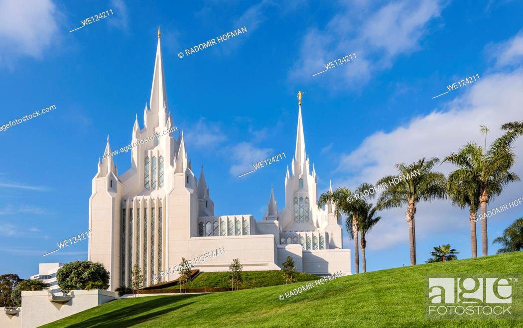 Stock Photo: San Diego Mormon Temple at La Jolla, California, USA.