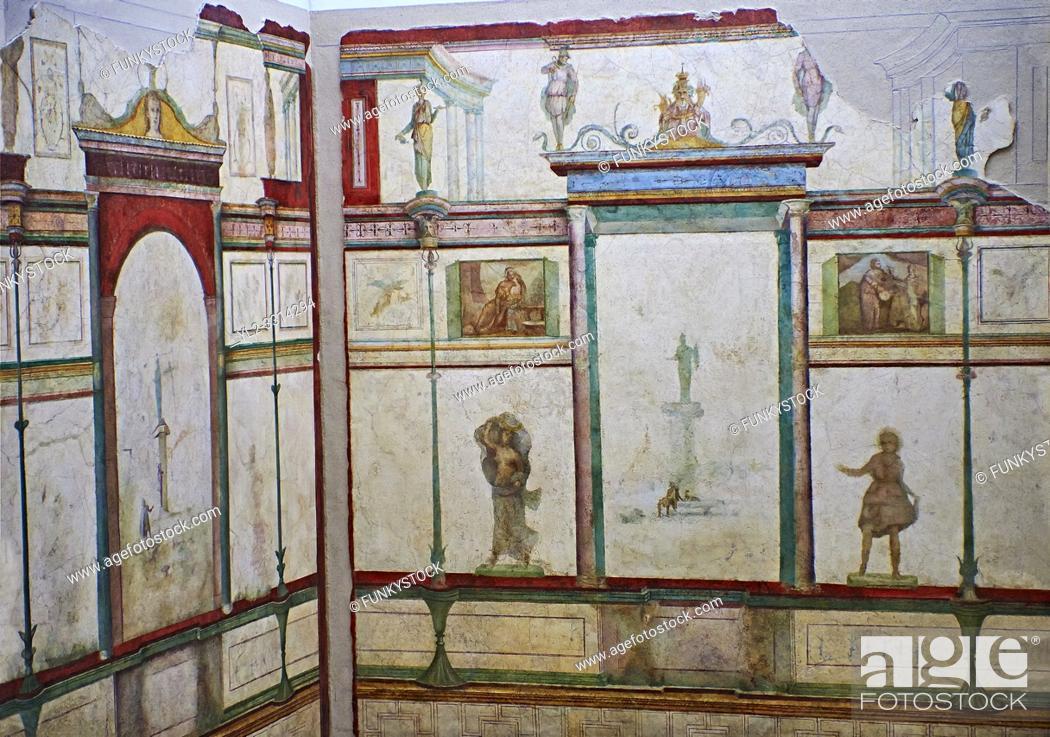 Imagen: Roman fresco wall decorations of Bedroom E of the Villa Farnesia, Rome. Museo Nazionale Romano ( National Roman Museum), Rome, Italy. .