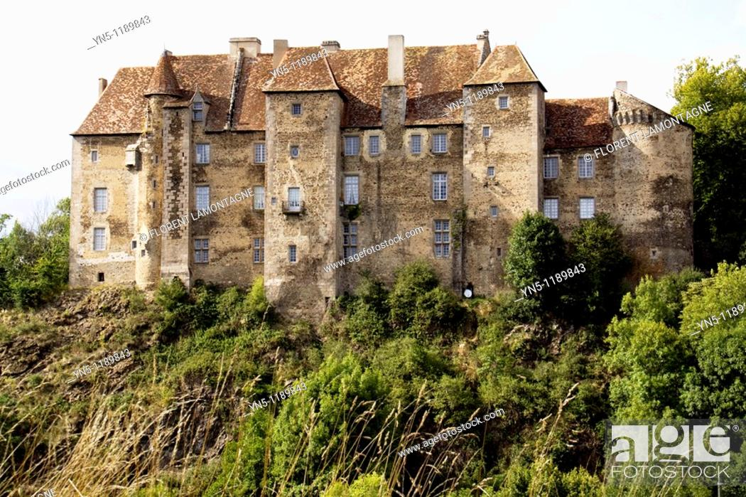 Stock Photo: France, Limousin province, Departement of Creuse 23, Boussac   Castle of Boussac 15th century where the tapestry of La Licorne has been found by Proper Merimée.