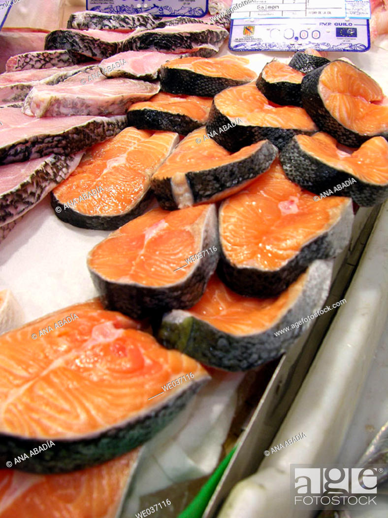 Stock Photo: Salmon and grouper for sale at market. El Olivar, Palma de Mallorca. Majorca, Balearic Islands, Spain.