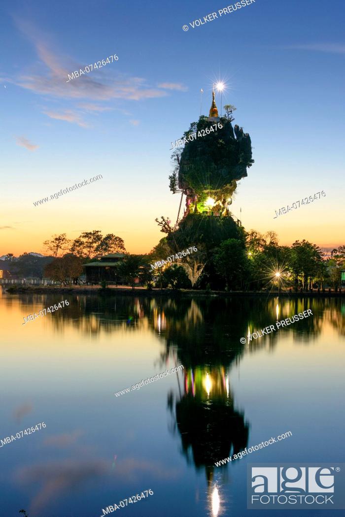 Stock Photo: Hpa-An, Kyauk Kalap Buddhist monastery, pagoda, lake, Kayin (Karen) State, Myanmar (Burma).