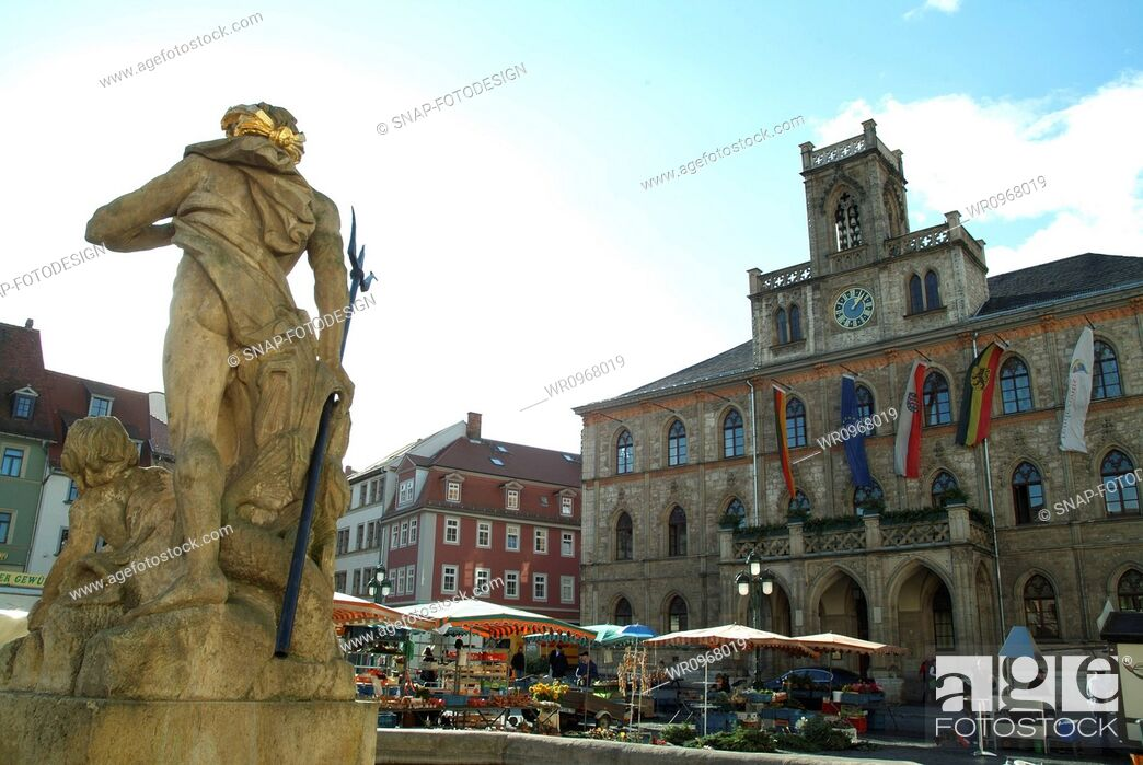Stock Photo: Town Hall, Market Place, State, Travel, Flower, House, Tourism, Building, Statue, Well, Germany, Market, Day, Neptune, Geography, Touristic, Thuringia, Weimar, Weekly Market