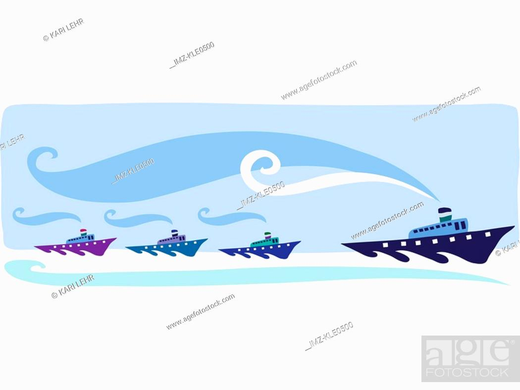 Stock Photo: Three small ships following a larger leader ship.
