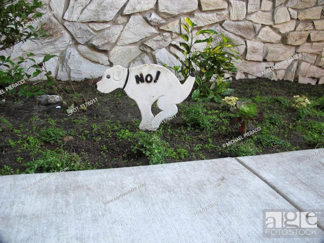 Stock Photo: No toilet for dogs symbol on public lawn by sidewalk.