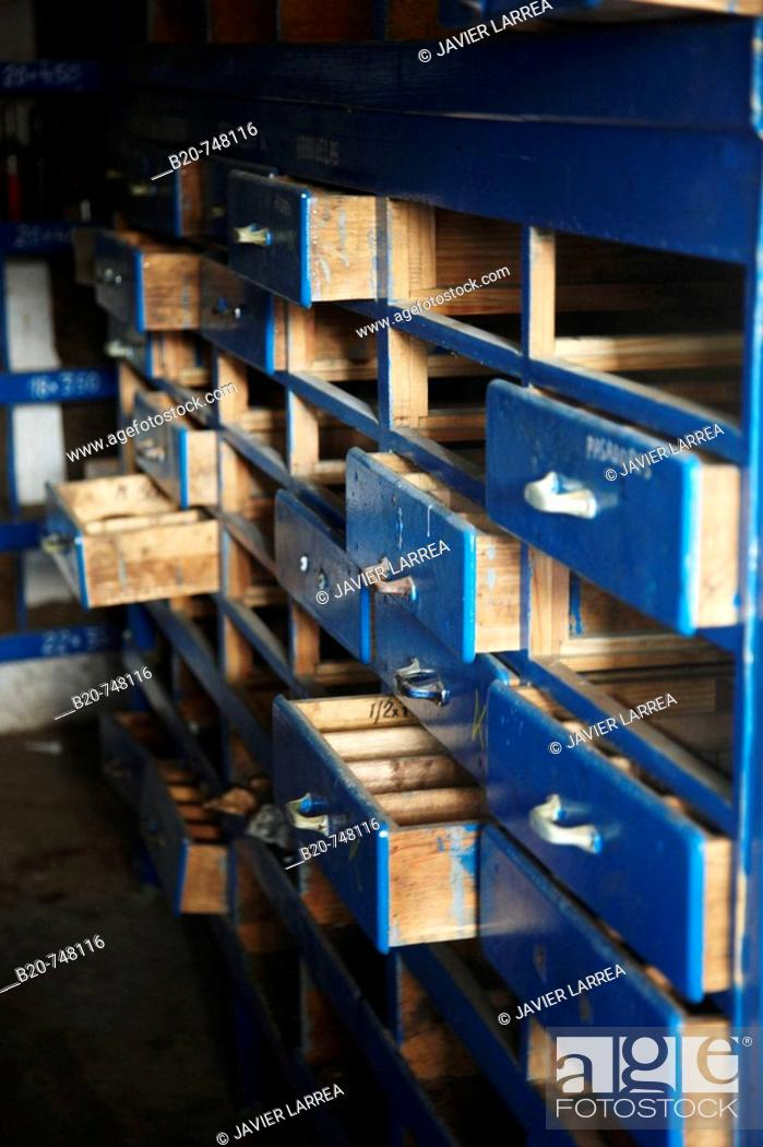Stock Photo: Drawers in warehouse, abandoned shipyard, Pasaia, Gipuzkoa, Basque Country, Spain.