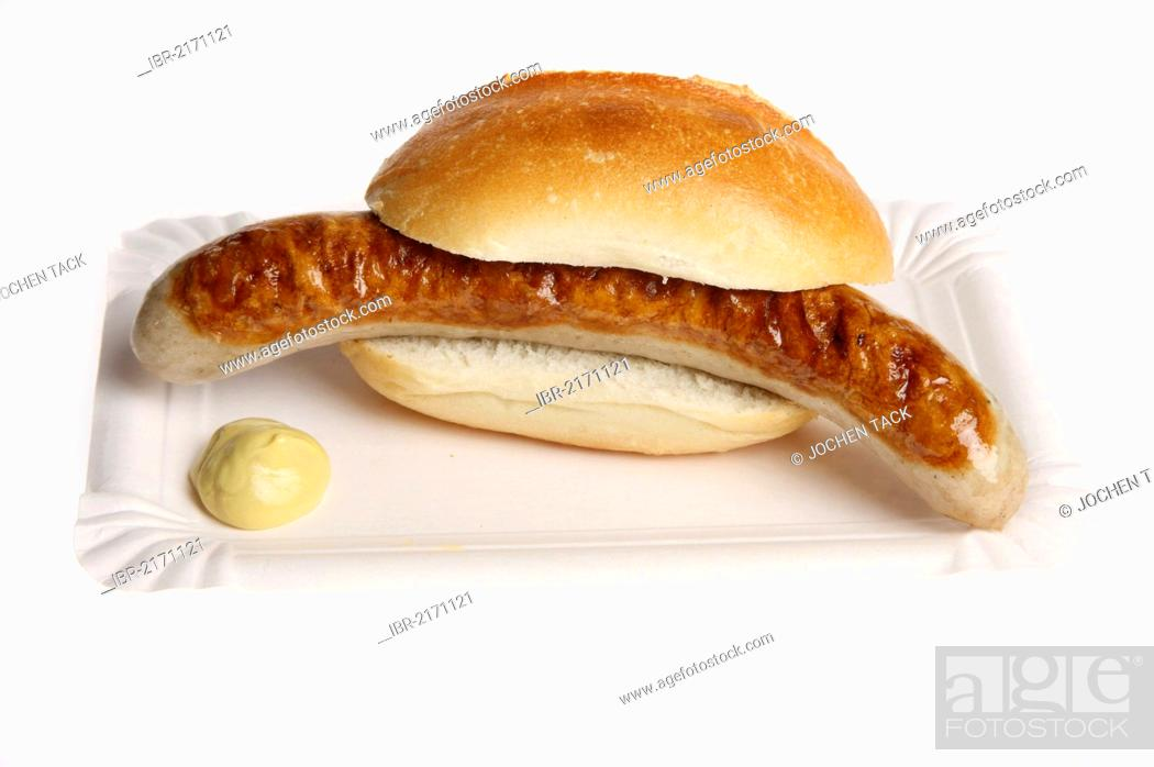 Stock Photo: Fast food, grilled sausage in a bun with mustard.