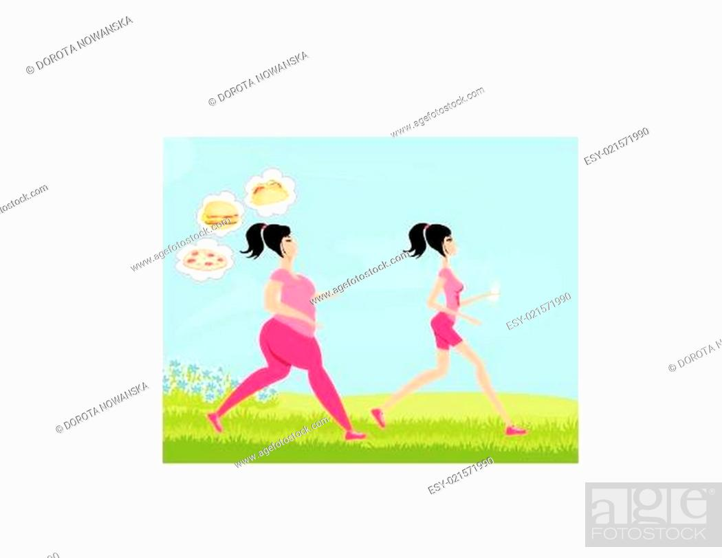 Stock Vector: Young woman jogging,fat girl dreams of unhealthy eating, skinny girl drinks mineral water.